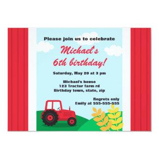 """Fiesta de cumpleaños de las colinas del tractor de invitación 4.5"""" x 6.25"""""""