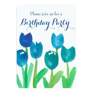"""Fiesta de cumpleaños de las flores de la acuarela invitación 5"""" x 7"""""""