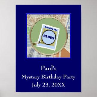 Fiesta de cumpleaños de las pistas de la lupa del póster