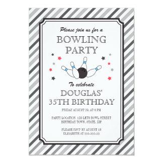 Fiesta de cumpleaños de las rayas que rueda grises invitación 12,7 x 17,8 cm