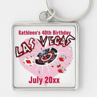 Fiesta de cumpleaños de Las Vegas para ella Llavero Cuadrado Plateado