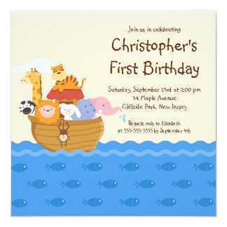 """Fiesta de cumpleaños de los animales del bebé de invitación 5.25"""" x 5.25"""""""