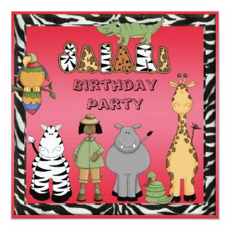 """Fiesta de cumpleaños de los animales del chica y invitación 5.25"""" x 5.25"""""""