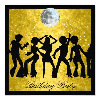 Fiesta de cumpleaños de los años 70 del disco retr anuncio personalizado
