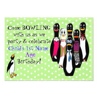Fiesta de cumpleaños de los bolos del pingüino invitación 12,7 x 17,8 cm