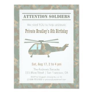 """Fiesta de cumpleaños de los muchachos del ejército invitación 4.25"""" x 5.5"""""""
