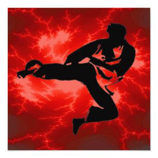 Fiesta de cumpleaños de los muchachos del karate invitación personalizada