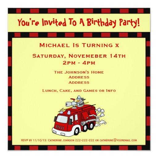 """Fiesta de cumpleaños de los niños del camión y del invitación 5.25"""" x 5.25"""""""