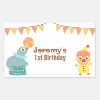 Fiesta de cumpleaños de los niños - payaso y león pegatina rectangular