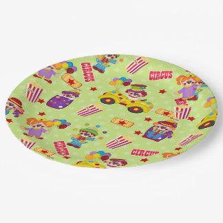 Fiesta de cumpleaños de los payasos de circo plato de papel de 9 pulgadas