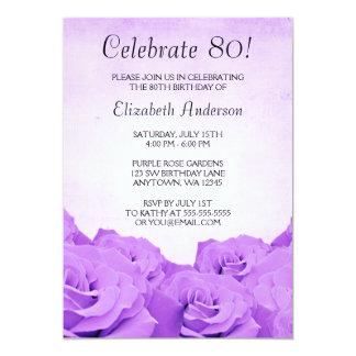 Fiesta de cumpleaños de los rosas púrpuras del invitación 12,7 x 17,8 cm