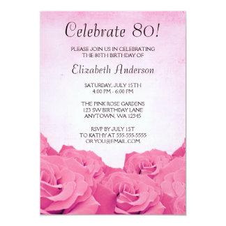 """Fiesta de cumpleaños de los rosas rosados del invitación 5"""" x 7"""""""