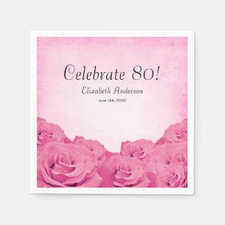Fiesta de cumpleaños de los rosas rosados del servilleta de papel