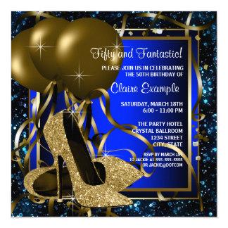 Fiesta de cumpleaños de los tacones altos del azul invitación 13,3 cm x 13,3cm