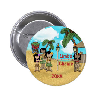 Fiesta de cumpleaños de Luau del limbo - campeón d Pin Redondo 5 Cm