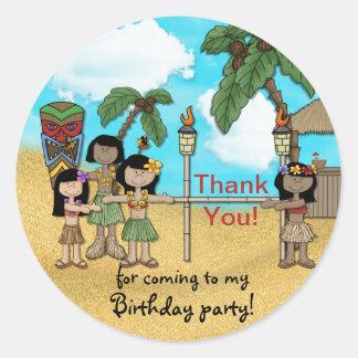 Fiesta de cumpleaños de Luau del limbo - gracias Etiqueta Redonda