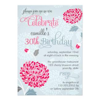 Fiesta de cumpleaños de lujo rosada y gris floral