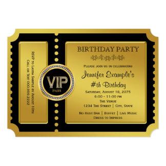 Fiesta de cumpleaños de oro del boleto del VIP Invitación 12,7 X 17,8 Cm