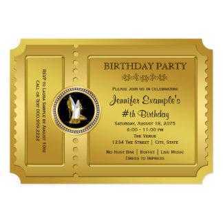 Fiesta de cumpleaños de oro del boleto del zapato invitación 12,7 x 17,8 cm
