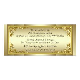 Fiesta de cumpleaños de oro elegante del boleto invitación 10,1 x 23,5 cm