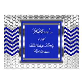 """Fiesta de cumpleaños de plata azul elegante de invitación 5"""" x 7"""""""