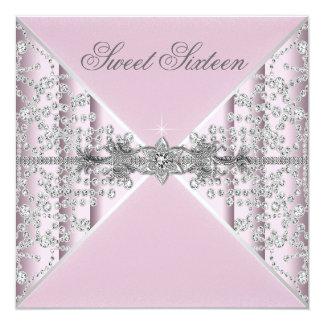 Fiesta de cumpleaños de plata del dulce 16 del invitación 13,3 cm x 13,3cm