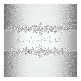 Fiesta de cumpleaños de plata elegante de los invitación 13,3 cm x 13,3cm