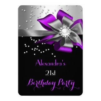 """Fiesta de cumpleaños de plata negra púrpura de la invitación 5"""" x 7"""""""