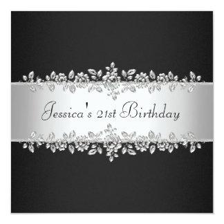 Fiesta de cumpleaños de plata negra y blanca invitación 13,3 cm x 13,3cm