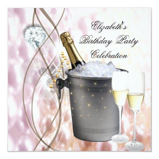 """Fiesta de cumpleaños de plata rosada elegante del invitación 5.25"""" x 5.25"""""""