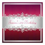 Fiesta de cumpleaños de plata rosada roja elegante invitaciones personales