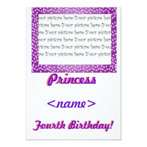 Fiesta de cumpleaños de princesa Mini Hearts Invitaciones Personalizada