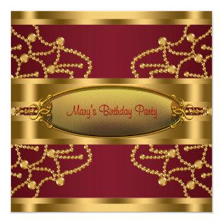 """Fiesta de cumpleaños de rubíes del oro del vino invitación 5.25"""" x 5.25"""""""