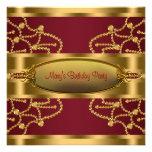 Fiesta de cumpleaños de rubíes del oro del vino ro invitación personalizada