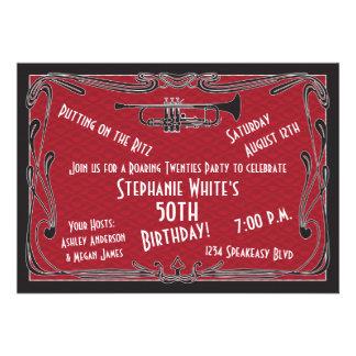 Fiesta de cumpleaños de rugido del bar de los años invitacion personal
