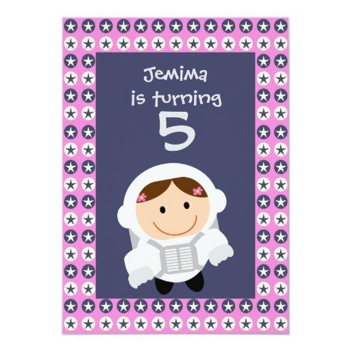 """Fiesta de cumpleaños de Spacegirl de las estrellas Invitación 5"""" X 7"""""""