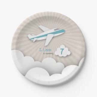 Fiesta de cumpleaños del aeroplano - azul