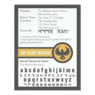 """Fiesta de cumpleaños del agente secreto de la invitación 4.25"""" x 5.5"""""""