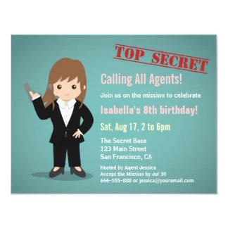 """Fiesta de cumpleaños del agente secreto del chica invitación 4.25"""" x 5.5"""""""