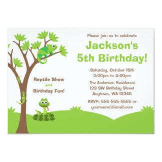 """Fiesta de cumpleaños del árbol del reptil invitación 4.5"""" x 6.25"""""""