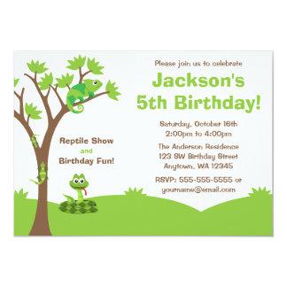 """Fiesta de cumpleaños del árbol del reptil invitación 5"""" x 7"""""""