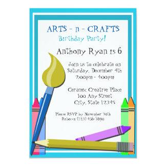 """Fiesta de cumpleaños del arte invitación 5"""" x 7"""""""