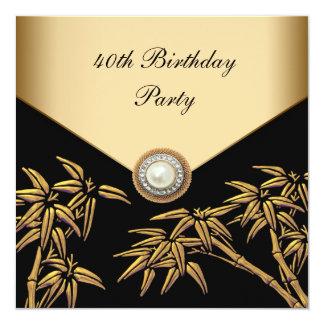 """Fiesta de cumpleaños del asiático de bambú de la invitación 5.25"""" x 5.25"""""""