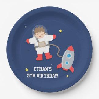 Fiesta de cumpleaños del astronauta del espacio platos de papel