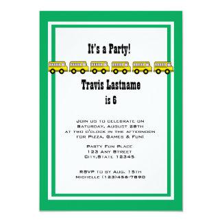 Fiesta de cumpleaños del autobús escolar comunicados personalizados