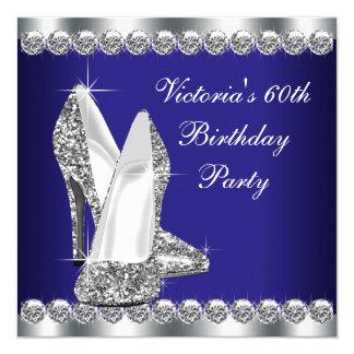 Fiesta de cumpleaños del azul real de la mujer invitación 13,3 cm x 13,3cm