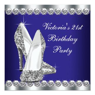 """Fiesta de cumpleaños del azul real de la mujer invitación 5.25"""" x 5.25"""""""