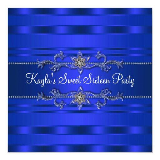"""Fiesta de cumpleaños del azul real invitación 5.25"""" x 5.25"""""""