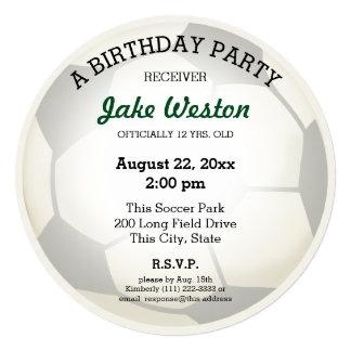 """Fiesta de cumpleaños del balón de fútbol invitación 5.25"""" x 5.25"""""""