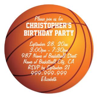 """Fiesta de cumpleaños del baloncesto invitación 5.25"""" x 5.25"""""""